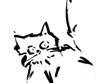 Original Black Cat Gouache Painting ACEO number 165