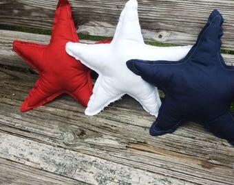 Rustic Star Pillows -Decorative Pillow -4th of July -July 4th -American Flag Pillow-Patriotic Pillow - Patio Pillow -Red White Blue Pillow
