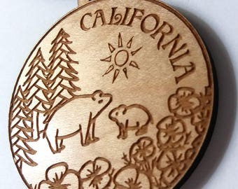 California Necklace, Mama and Baby Bear, California Poppies, Giant Redwoods, Wood Necklace, Natural Maple Wood, Laura Cesari for Caballera
