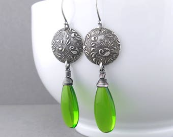 Long Peridot Earrings Long Green Earrings Green Jewelry Womens Boho Earrings Silver Dangle Earrings Boho Jewelry Gift for Her - Kristen