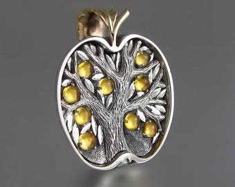 APPLE TREE silver and 14k gold pendant with Citrines - Tree of Life necklace Ready to Ship
