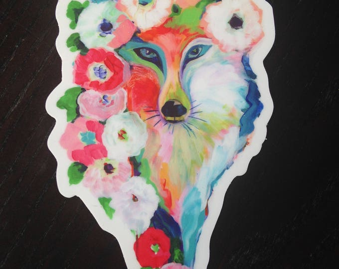 Featured listing image: Fox and Flowers Vinyl Sticker, 3x5, by Jenlo