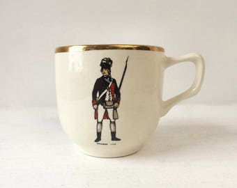 Vintage Pottery Mustache Cup, 1775 Rifleman Soldier Uniform, Capt Barlow, E Liverpool Ohio, Cream with Gold Trim