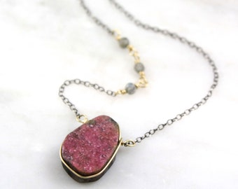 Pink Cobalto Calcite And Labradorite Mixed Metal Necklace