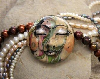 Bohemian Moon Goddess Face CAB Cabochon OOAK swirled Polymer Clay
