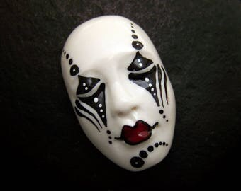 Black & White Mime Face Cab Handmade Polymer Clay Cabochon beading supply, art doll part, collage