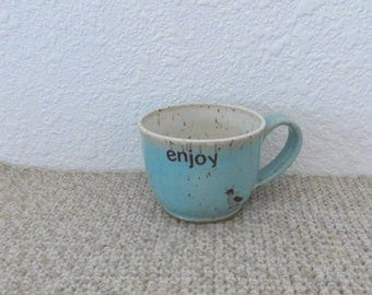 Wee Mug Cup - Handmade Stoneware Pottery Ceramic - Blue Celadon and White - Penguin - 8 ounce