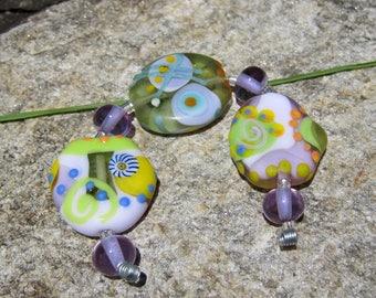 Lavender Spring- lampwork bead set- SRA - Art Glass beads~ Lisa New Design