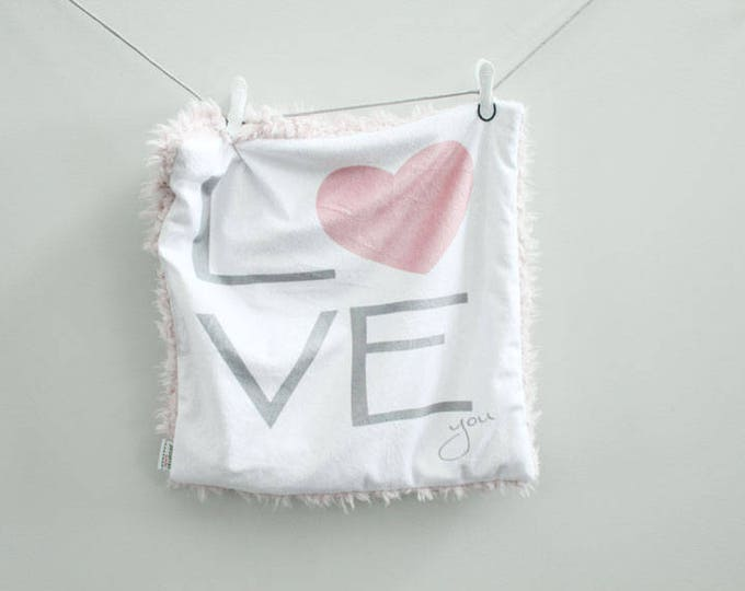Lovey Blanket love you heart faux fur minky READY TO SHIP baby gift cloud blanket llama newborn gift plush photo prop toddler child