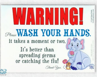 Wash Your Hands to Avoid the Flu Sign for Kitchen, Bathroom, Day Care, Office, Classroom, Home