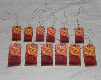 12 Primitive Whimsical Paper Hang Tags Gift Ties Spooky Halloween Witch Ghost Bats Jack O Lantern Pumpkin Treat Bag Tie Ons Assorted Sizes