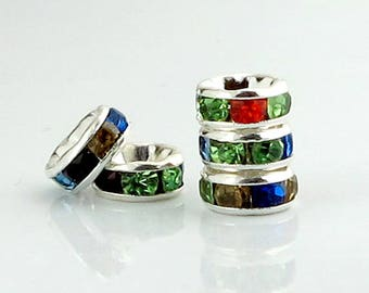Rhinestone Rondelle Multicolor 6mm Silver Plated Spacers 20 pcs.