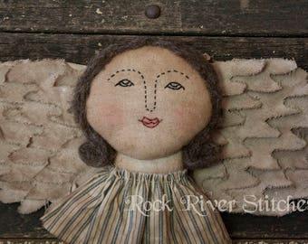 Primitive Angel Wings Doll, Angel Wallhanging, Folk Art Doll, Soft Sculpture, Home Decor, Angel Wings