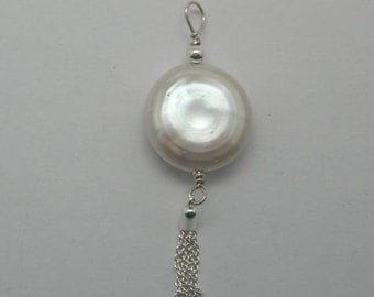 Coin Pearl and Sterling Tassel Pendant