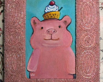 Original Painting of a happy Pig with a waffle cone sundae on it's head  painted in acrylic framed in a 7x9 beaded pink repurposed frame