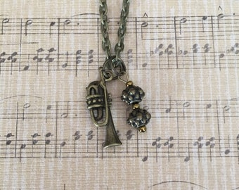 Antique Bronze Trumpet Charm Necklace