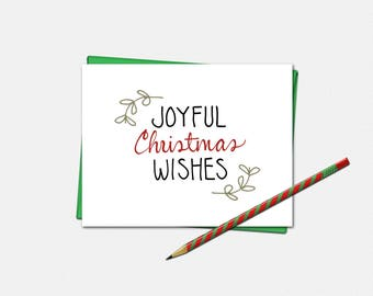 Christmas Cards - Joyful Christmas Wishes Cards - Christmas Card - Set of 10 - Xmas Cards