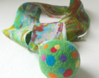 Rainbow Wool Ball with Silk Tail, Eco Friendly Toy for Active Play (Felted Wool Comet Ball, All Natural Rocket Ball)