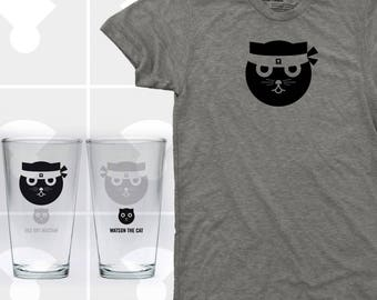 Kung Fu Watson the Cat - T Shirt & Pint Glass Set (Men)