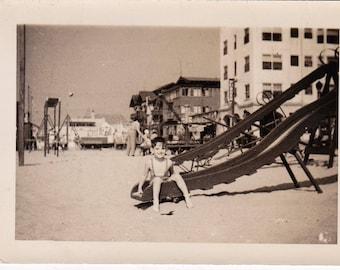 Slide on the Beach - Found Photograph, Original Vintage Photo, Photograph, Old photo, Snapshot, Photography,