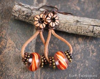 Leather hoop boho earrings. Rustic design. Lampwork beads and copper findings.  Solid copper. Orange.