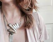 Howlite/Labradorite//Rhinestone healing//Assemblage//bone stone vintage//OOAK//Statement necklace//Wedding inspiration//Maiden to mother