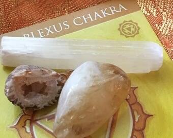 Manipura Solar Plexus (3rd Chakra) Mudra Card w/Gemstone Set      Stone Kits, Spiritual Gifts, Yoga, Meditation, Yoga Gift, Reiki Chakra Set