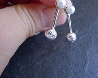 Recycled Sterling Silver Nugget Stud Earrings with Freshwater Pearls