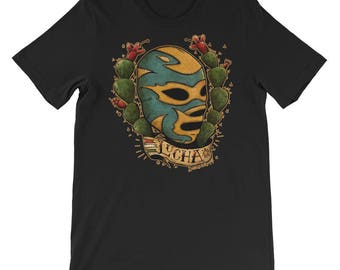 Mexican Lucha Libre Traditional Tattoo Style Tshirt Art  By Agorables Old School Wrestler in Mask Unisex short sleeve t-shirt