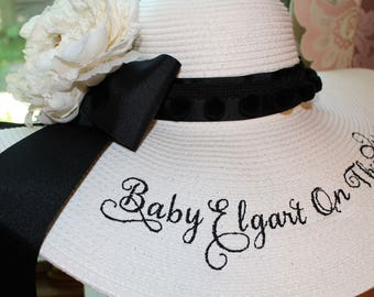 Personalized Straw Floppy Hat Baby On the Way Baby Shower Hat Baby Announcement Pom Pom Hat Shower Hat Straw Floppy Hat Monogrammed Hat