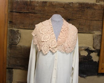 Womens Cardigan Sweater Upcycled Crochet Hippie Clothes Shabby Boho Chic Doily Fashion