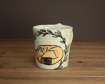 Sleepy Fox Mug| Woodland Mug| Dreamy Pottery| Nighttime Tea Mug| Graduation Gift