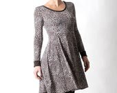 Womens brown dress, Jersey skater dress with long sleeves, Womens dresses, Brown, white, grey dotted dress, size FR 38 / UK 10, MALAM