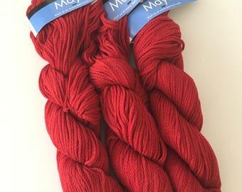 Red knitting yarn - destash yarn - crochet yarn - cotton yarn - natural yarn - knitting yarn - Berroco yarn - Berroco Maya - Free Shipping