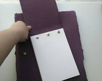Secret screw-post bound sketchbook with handmade purple and red flecked cover