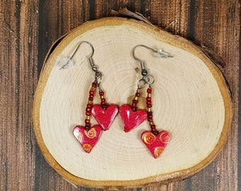 Dangle Heart Earrings - Red and Gold - Lightweight Ear Wires - Valentine Gift for Her - Heart Jewelry - Accessories to Show Love