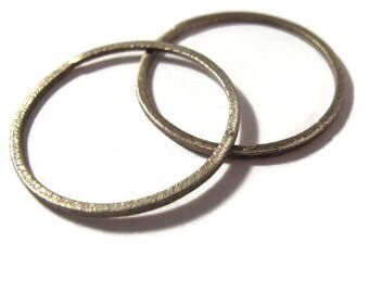 Two Brushed Silver Links, Circle Link Connector, Silver Charm, Simple Elegant Charm, Jewelry Supplies, 33mm (F-13a)
