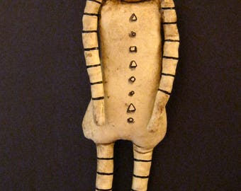 halloween pumpkin art doll, sandy mastroni ,  creepy skinny, stripes. antique rub finish, Nightmare art, wall art, shelf doll,