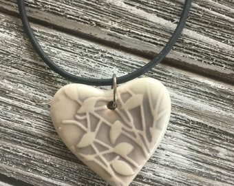 Grey Leaves Porcelain Heart Pendant 2