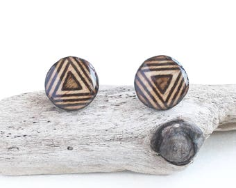 Wood Burned Circle Stud Earrings, Geometric Triangle Design for Men or Women, Simple Casual Studs, Hypo Allergenic Surgical Stainless Steel