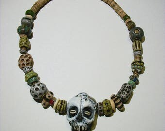 Voodoo Mama, Vanuatu skull, Shadow Man, Santeria, Horror Sculpture, Witch, Zombie Head Pendant