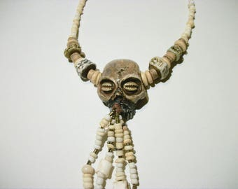 Vanuatu skull, Bone Jewelry, Shadow Man, Santeria, Horror Sculpture, Witch, Pirate Jewelry, Zombie Head Pendant