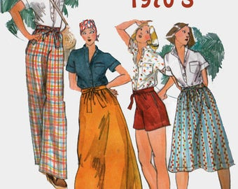 Vintage 70s Young Designer Kenzo Shirt, Skirt, Pants & Shorts Sewing Pattern Butterick 4259 1970s Designer Pattern Size 12 Bust 34 UNCUT