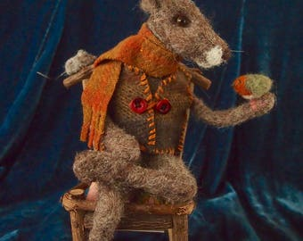 Needle felted rabbit and friends...'He comes for conversation'.