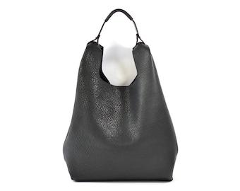 Bonnie - Handmade Black Leather Shopper Carrier Bag SS18