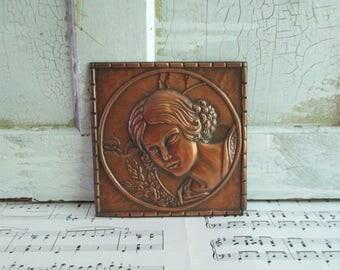Vintage Copper Toned Art Deco Womans Portrait - Signed A. Gilles