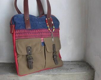 Recycled Bag, Canvas Leather Bag, Blue Red Shoulder Bag, Tote Bag, Patched Bag, Zippered Denim Bag, Embroidery Shoulder Bag, Boho Ethnic Bag