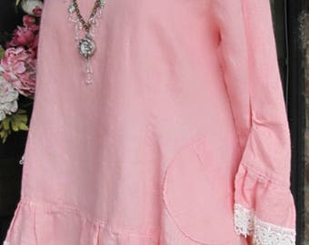 Ladies 100% Pink Linen Ruffle Rosie Top with Venise Lace