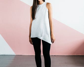 Heather Grey Geo Tunic, Handmade in the USA, Sleeveless Top, Everyday Wear, Wear to Work, Travel