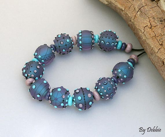 DSG ~Artisan Debbie Sanders Handmade Organic Lampwork Glass Beads ~Lavender Sky~